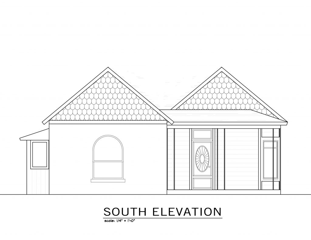 Architectural rendering of the original south elevation.