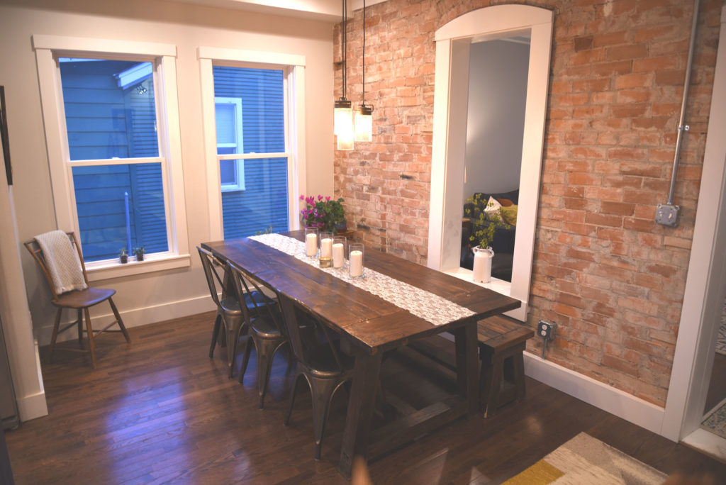 The dining room of the completed home.