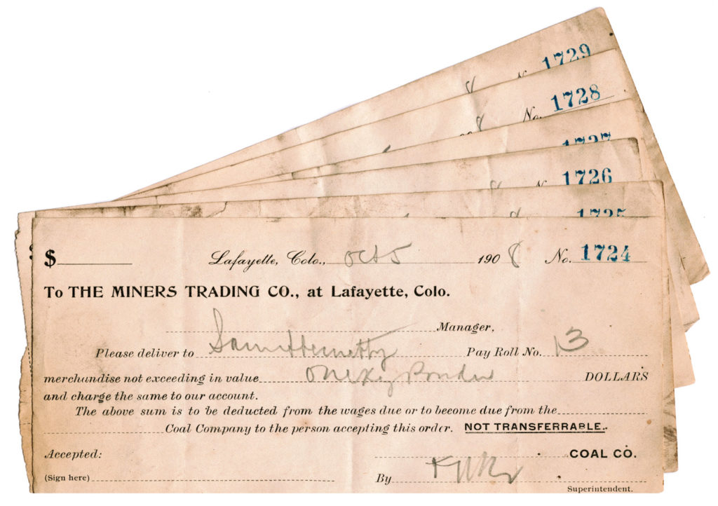 Hundreds of samples of coal company scrip, similar to checks, were found in the walls of the Simpson mine office during renovation. Also found were payroll records and contract work invoices.