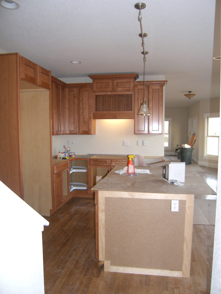 The renovated kitchen at 456 N. Finch in progress.