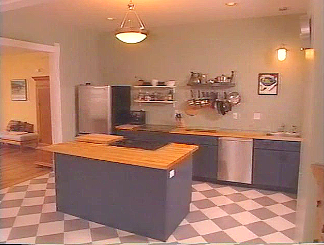 Kitchen of the Waneka House after renovation (screen capture from a 2004 video).