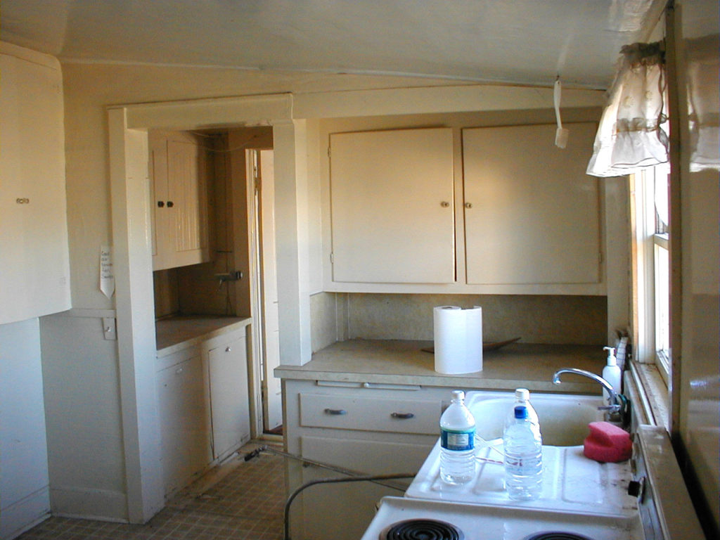 Kitchen of the Waneka House before renovation.
