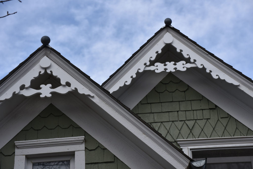 Gable-end gingerbread trim that matches the original was manufactured in 2015 by local craftsman Andrew MacDonald. The trim was placed by Doug in 2017.