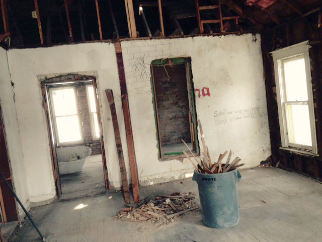 The living room of the Metcalf House during renovation.