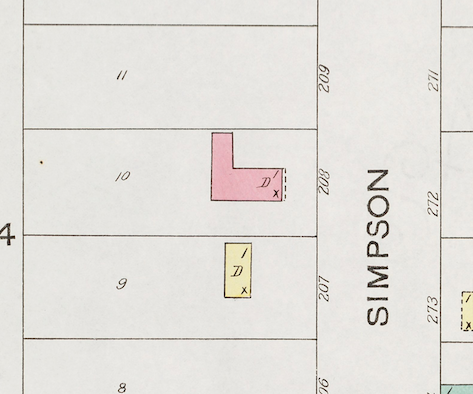 "The 1900 Sanborn map shows the L-shape structure, labeled as ""208"" back then, with the oldest part fronting Simpson Street."