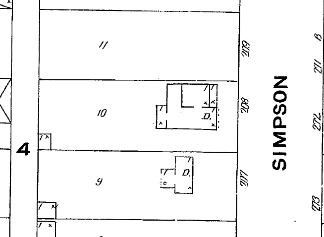 "The 1908 Sanborn map shows the L-shape brick structure, bridged by the wood frame living room and porch. The address in those days was ""208""."