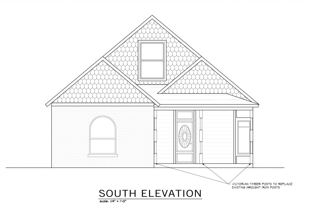 Architectural rendering of the updated south elevation showing a 1/2-story addition. Porch posts were changed to round Tuscan-style to reflect the original detailing of the house.