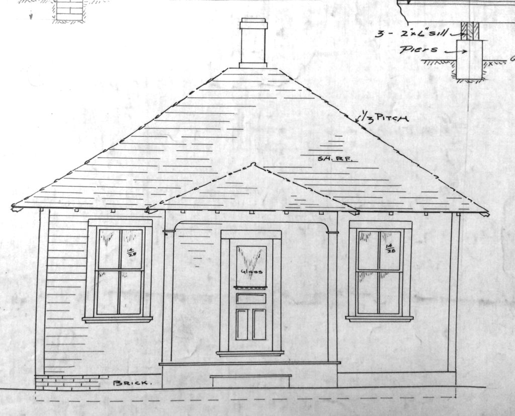 Front elevation from a  Rocky Mountain Fuel Company Type H house plan.