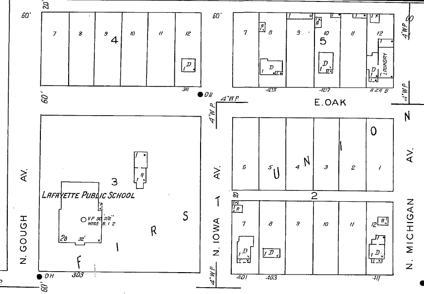 The 1937 Sanborn map showing the Kneebone house at 311 E. Oak Street,  the northwest corner of N. Iowa and E. Oak. The wood frame Baseline School, which burned down in the early 1960s, is shown on the large lot to the south of the house.