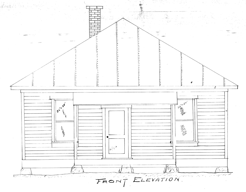 The early 1900s Capitol Mine Company blueprint showing the south elevation of the Kneebone House. From the Lafayette Public Library.