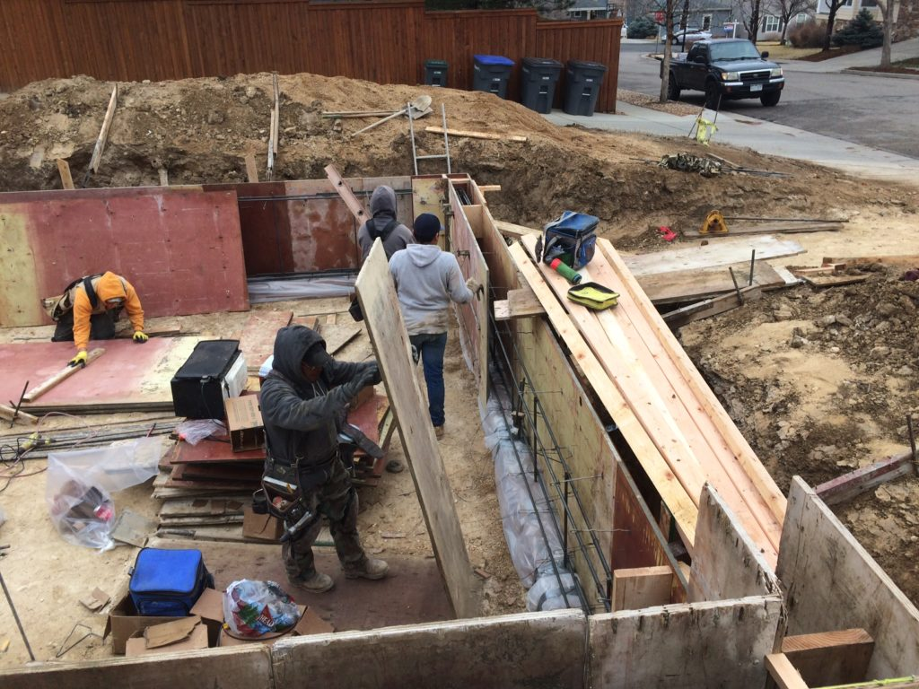 The foundation for the accessory dwelling unit takes shape.