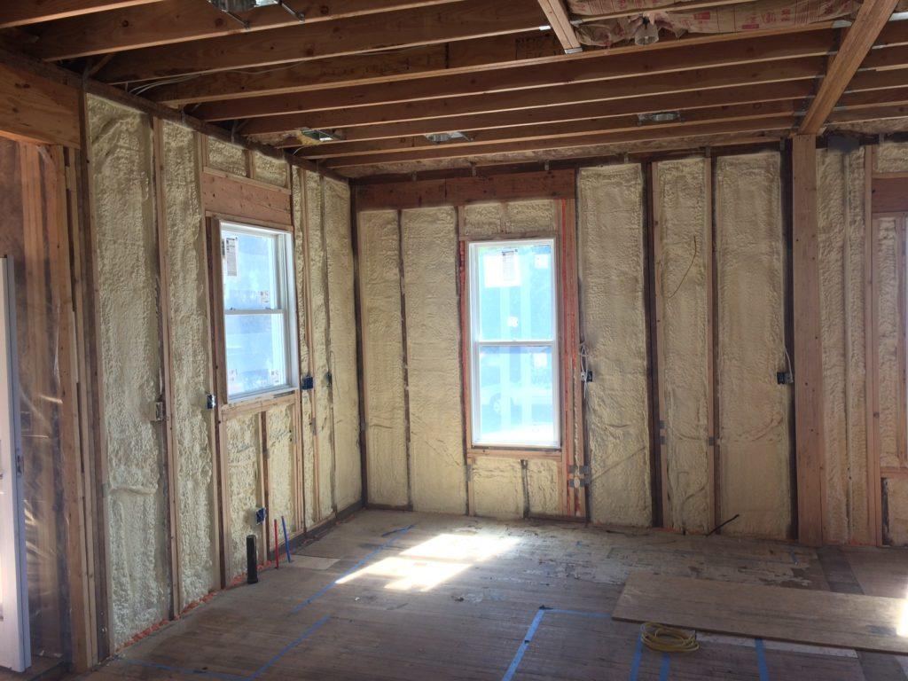 Foam insulation in the kitchen.